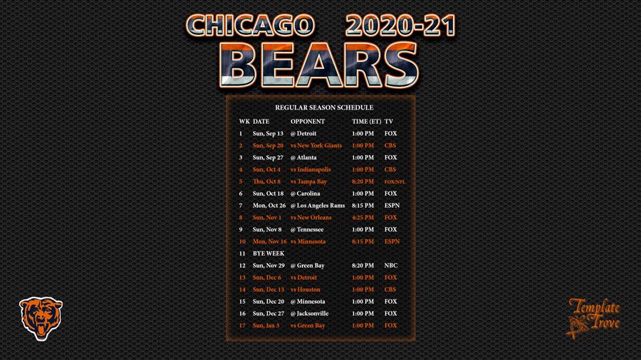 2020 2021 Chicago Bears Wallpaper Schedule