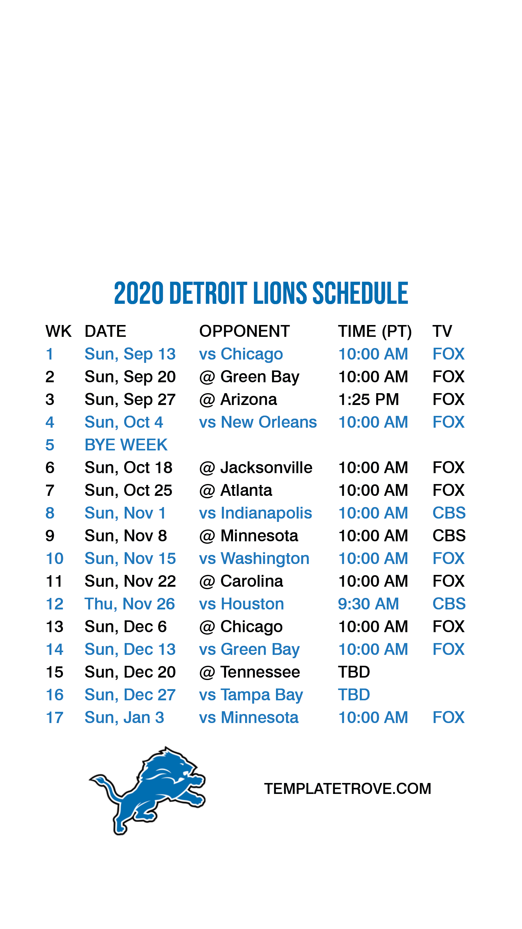 2020 2021 Detroit Lions Lock Screen Schedule For IPhone 6
