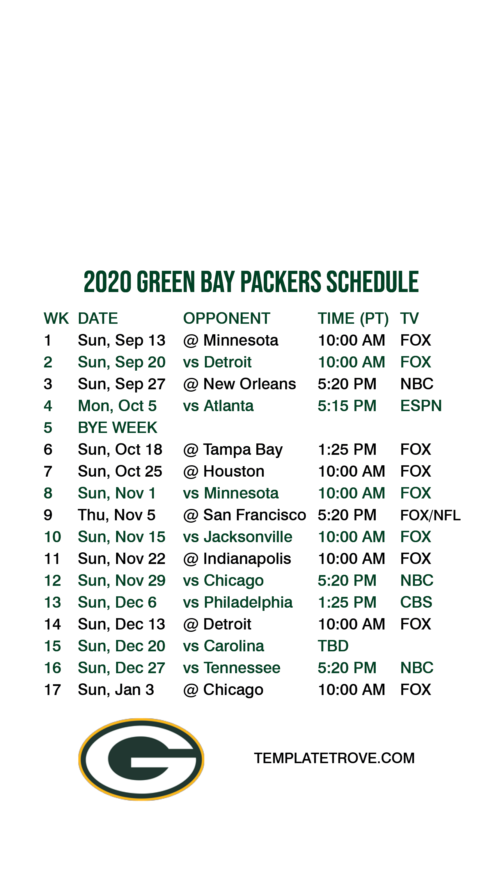 2020 2021 Green Bay Packers Lock Screen Schedule For