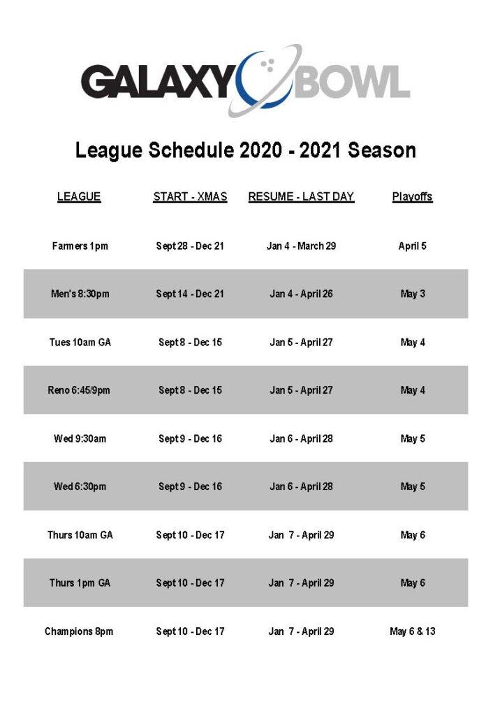 2020 2021 League Schedule Galaxy Bowl
