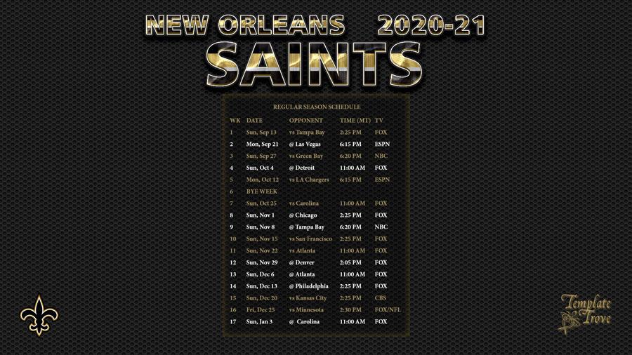 2020 2021 New Orleans Saints Wallpaper Schedule