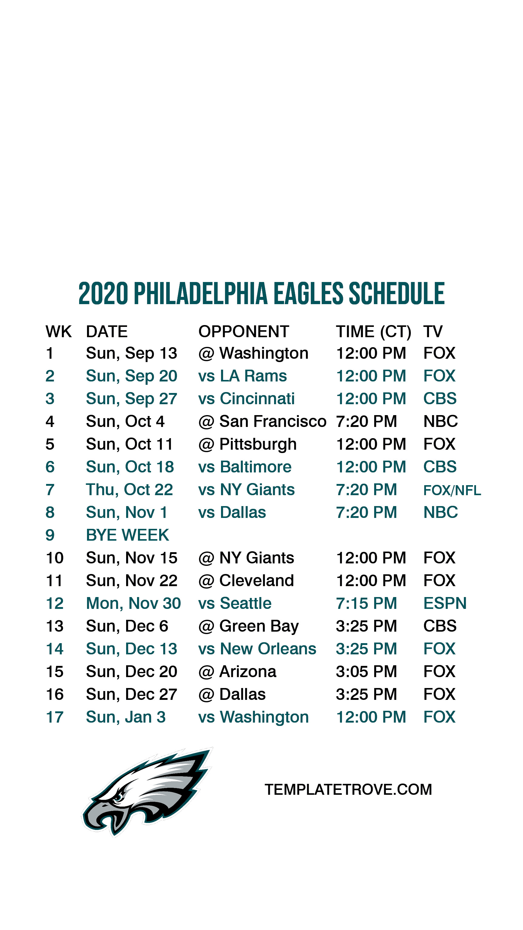 2020 2021 Philadelphia Eagles Lock Screen Schedule For
