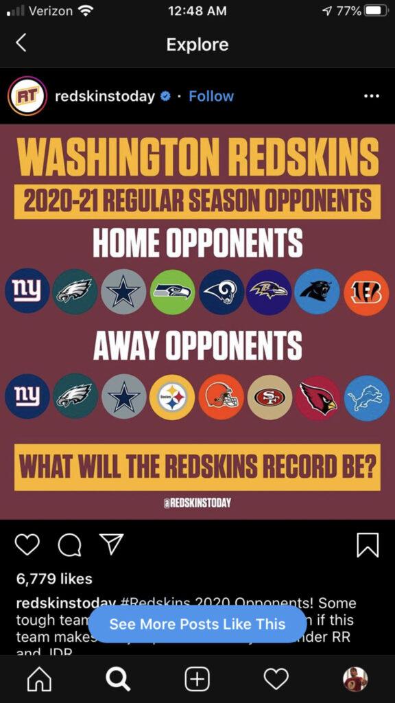 2020 2021 Schedule Redskins