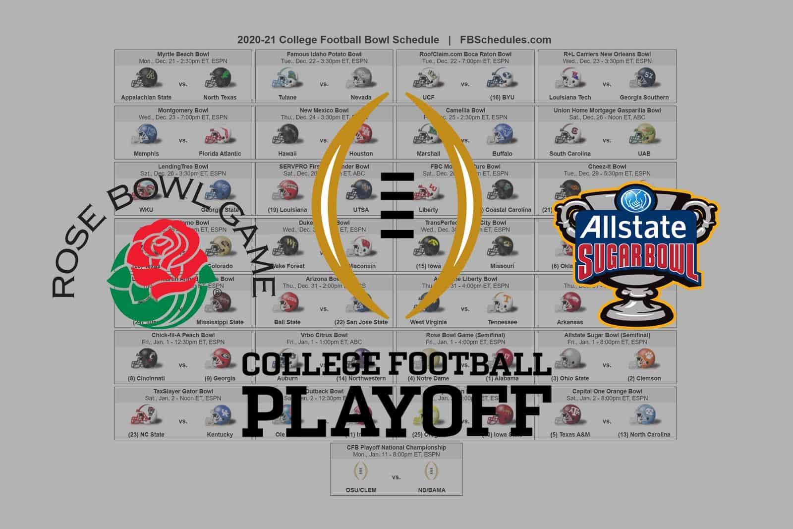 2020 21 College Football Bowl Helmet Schedule