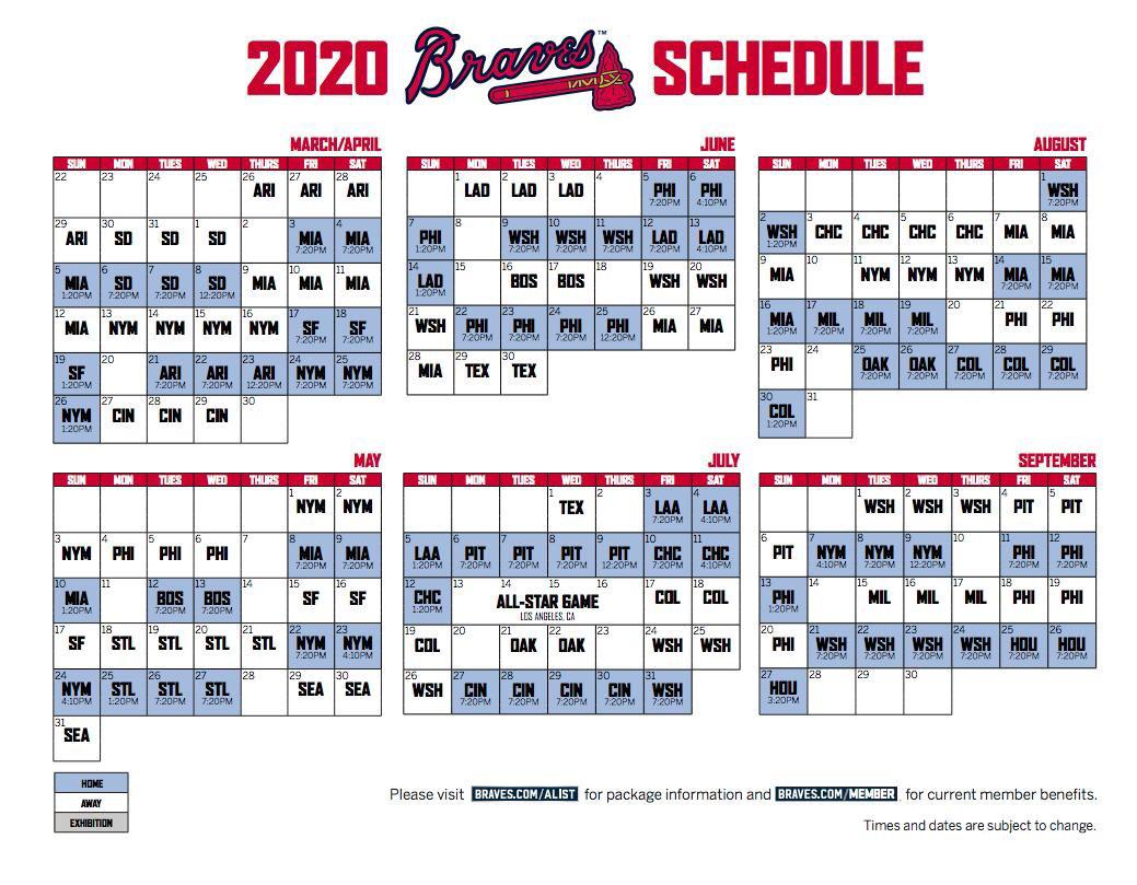 2020 Braves Schedule Braves