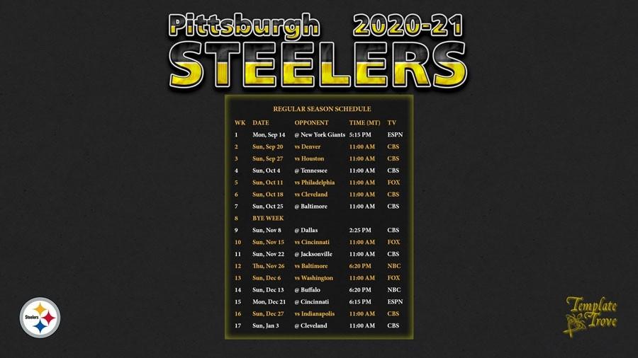 2021 Nfl Football Schedule Printable Calendar Template