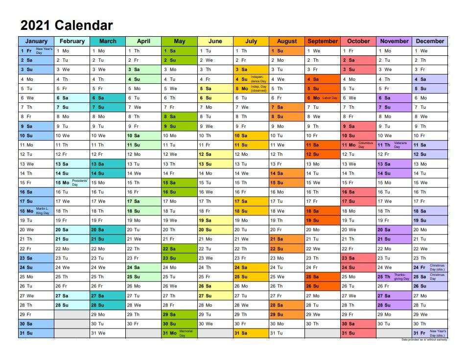 2021 Printable Calendar Landscape Format