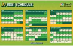Oakland A's Printable Schedule 2021