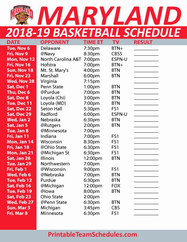 Basketball Schedule Template New Printable Maryland