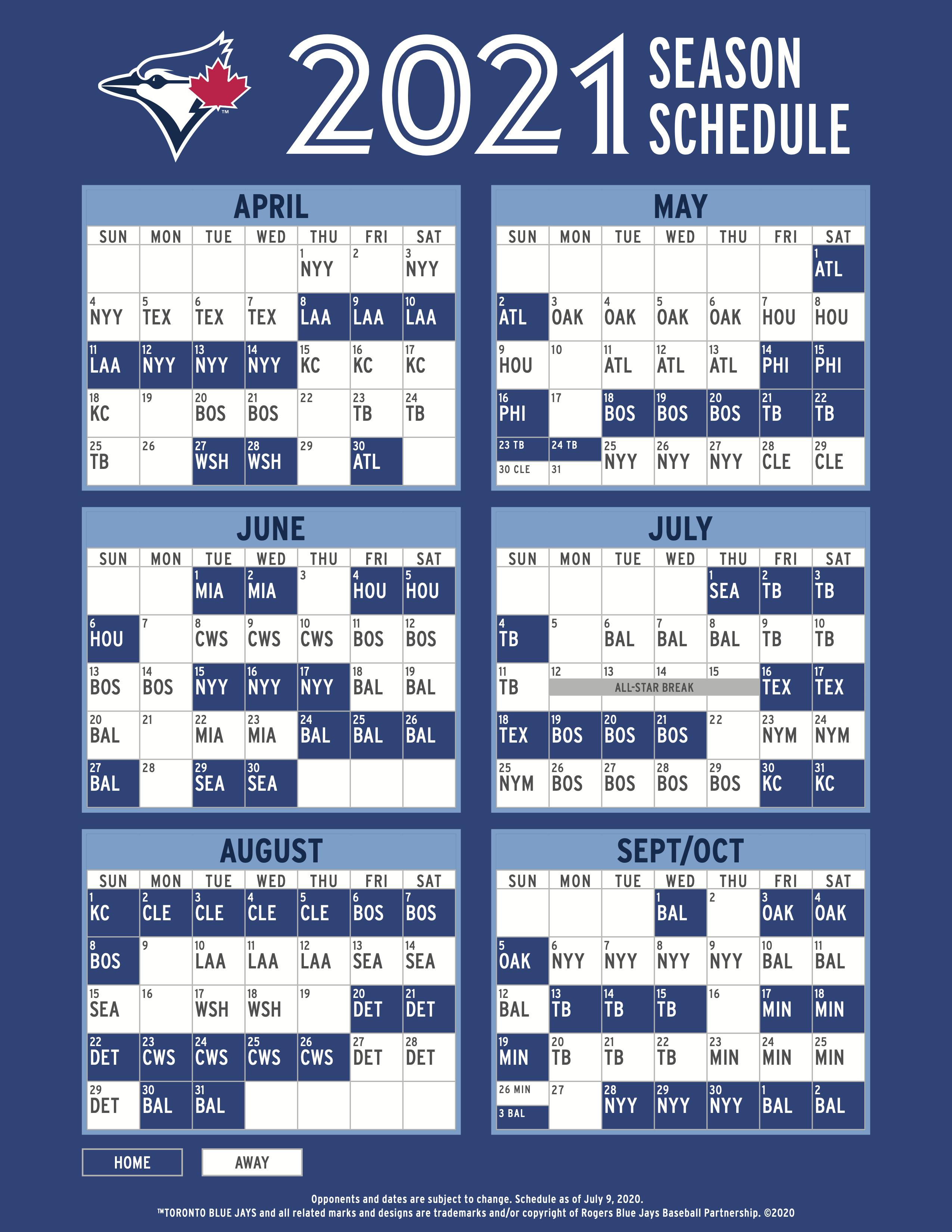 Blue Jays 2021 Schedule Torontobluejays
