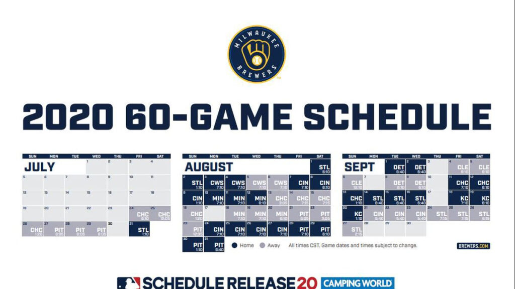 Brewers Release 2020 60 Game Schedule