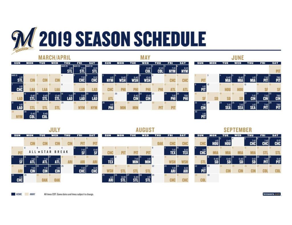Brewers Schedule 2019 Printable PrintableTemplates