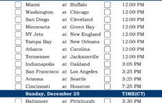 Central Time Week 16 NFL Schedule 2016 Printable