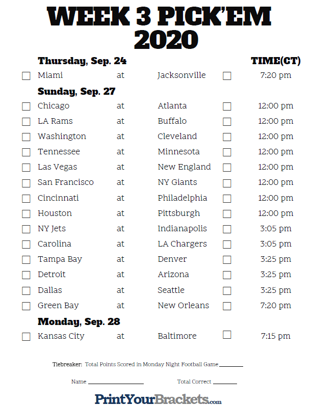 Central Time Week 3 NFL Schedule 2020 Printable