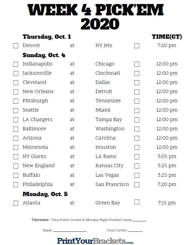 Central Time Week 4 NFL Schedule 2020 Printable