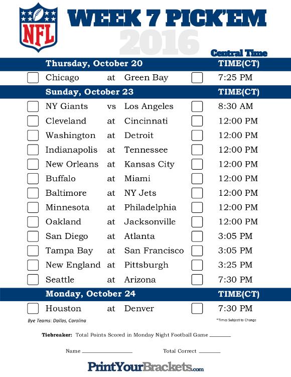 Central Time Week 7 NFL Schedule 2016 Printable