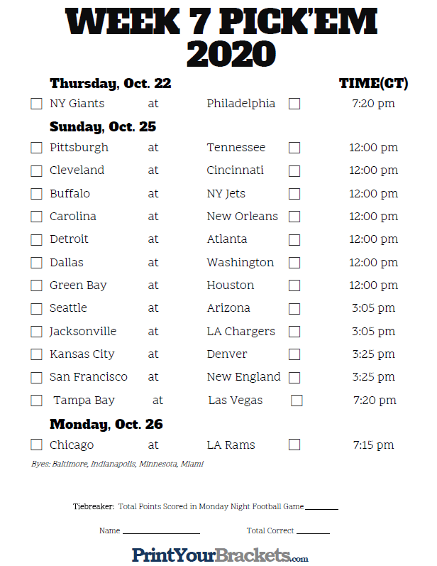 Central Time Week 7 NFL Schedule 2020 Printable