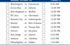 Central Time Week 8 NFL Schedule 2016 Printable