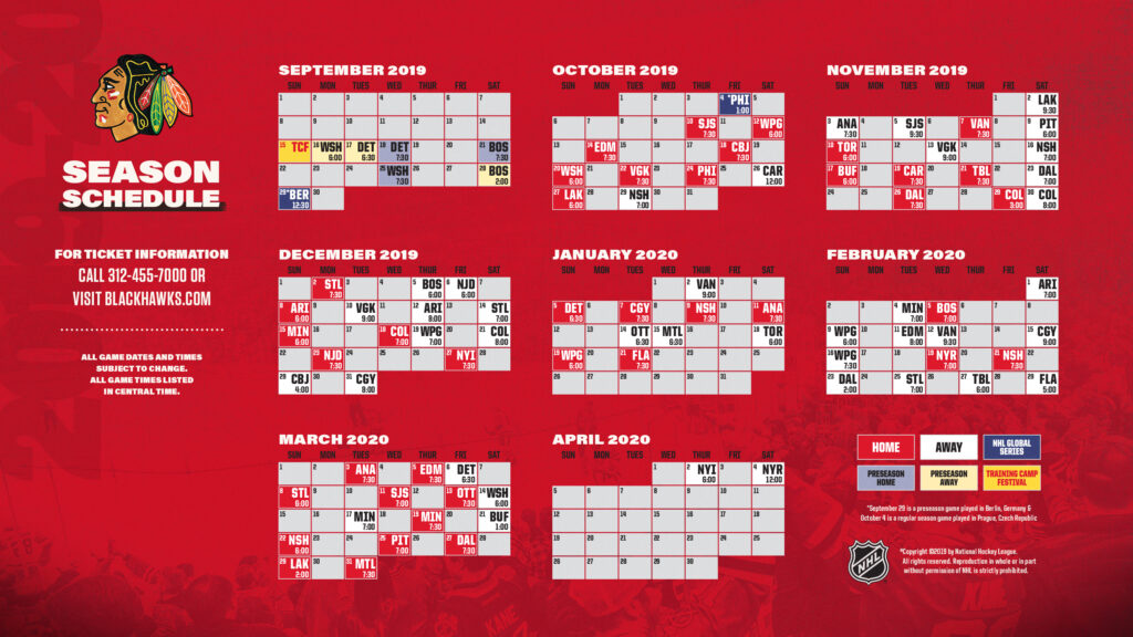 Chicago Blackhawks Printable Schedule That Are Versatile