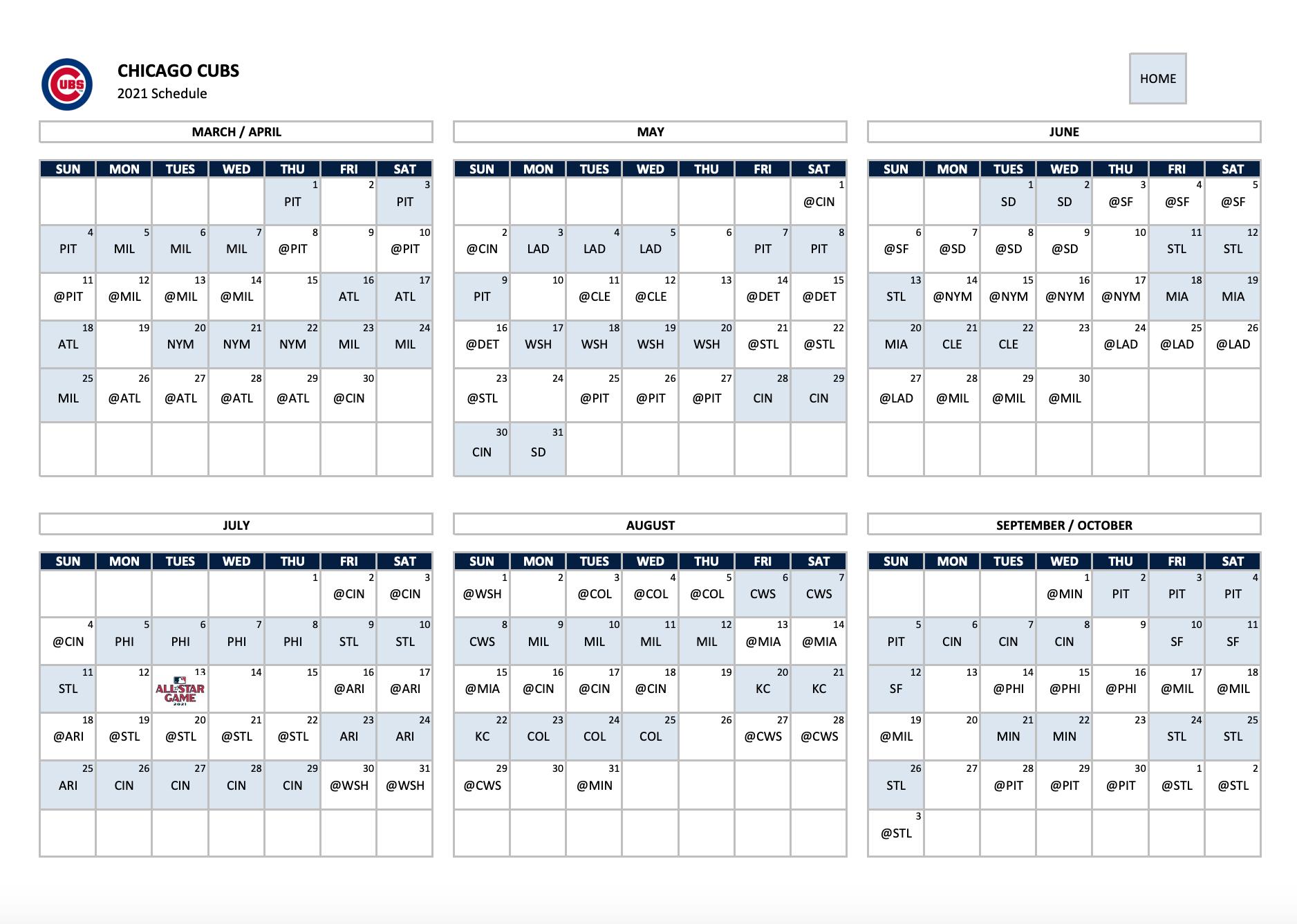 Chicago Cubs Calendar 2021 Huts Calendar