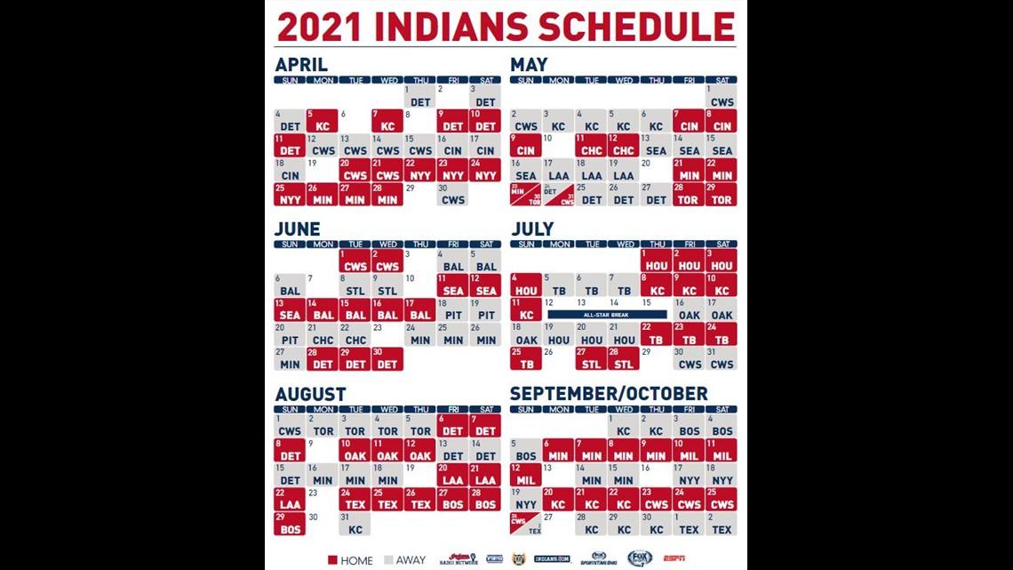 Cleveland Indians Unveil 2021 Schedule Open April 1 At