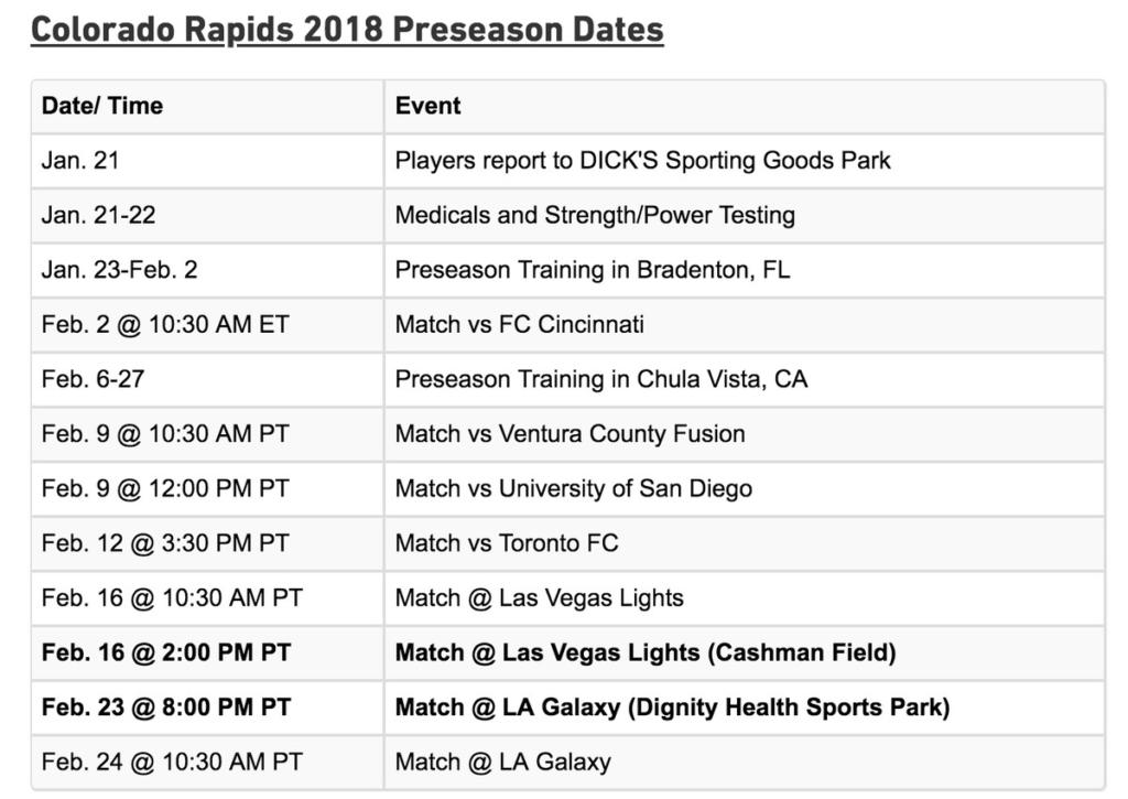 Colorado Rapids Announce 2019 Preseason Schedule