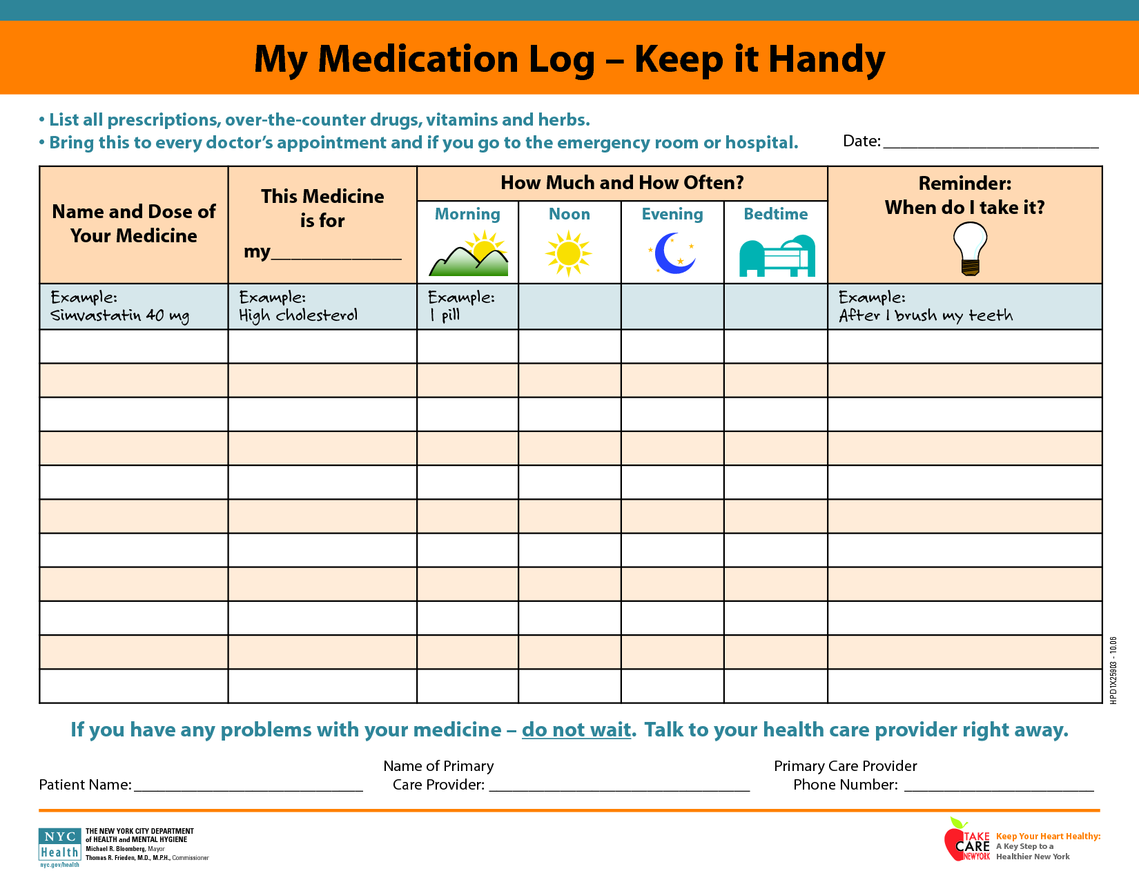 Daily Medication Schedule Template Medication Chart