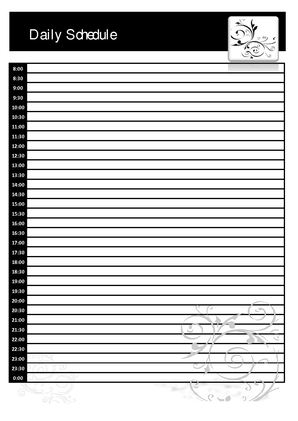 Daily Planner Template Printable Free Calendar