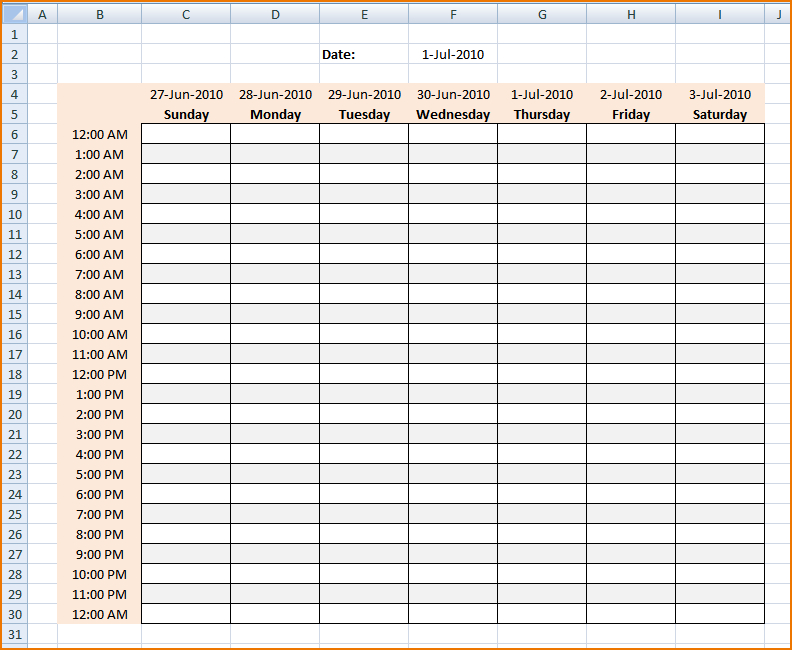 Daily Schedule Maker Printable Receipt Template