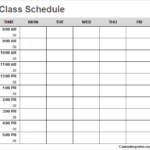 Free Blank Printable Class Schedule Template For Preschool