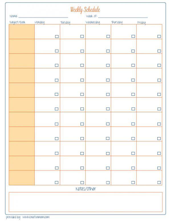 Free Homeschool Weekly Planner printable Homeschool