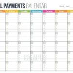 Free Monthly Bills 2021 Calendar Template Printable