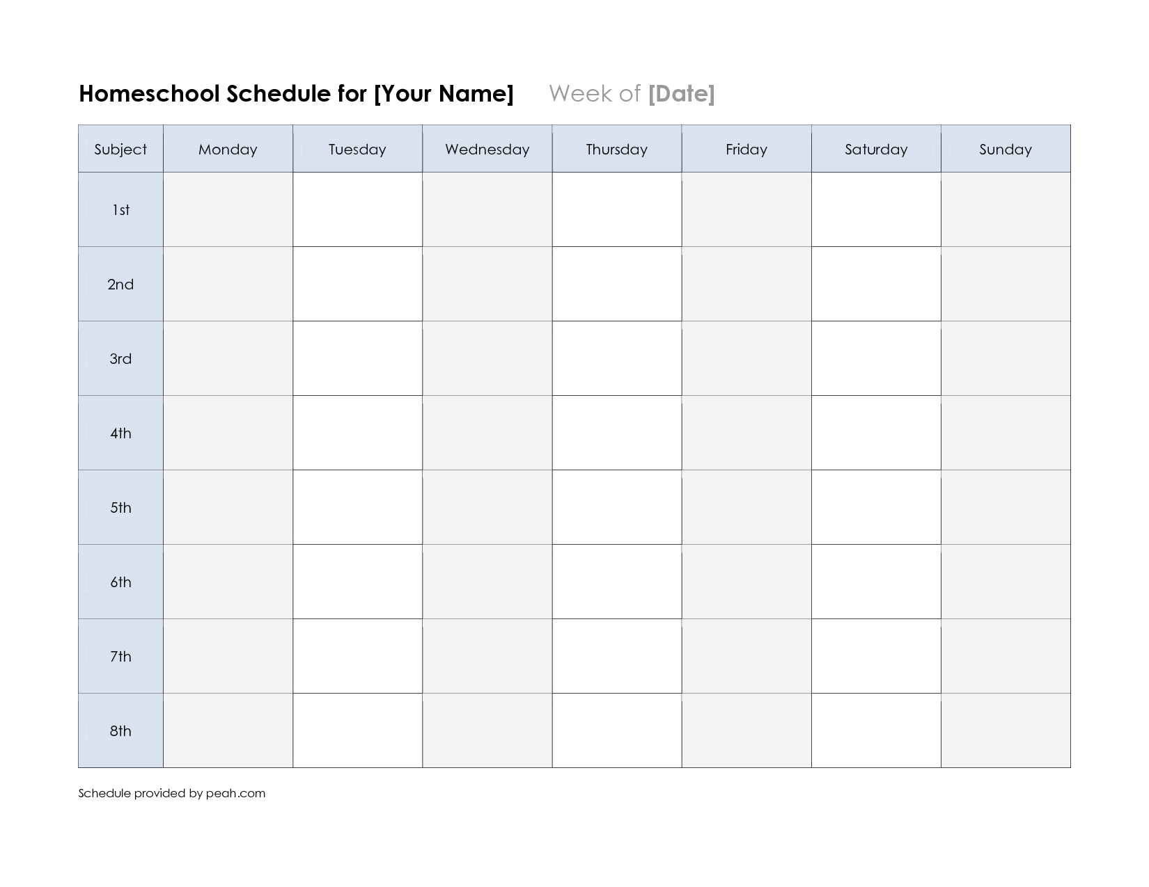 Free Printable Class Schedule Template Printable Weekly