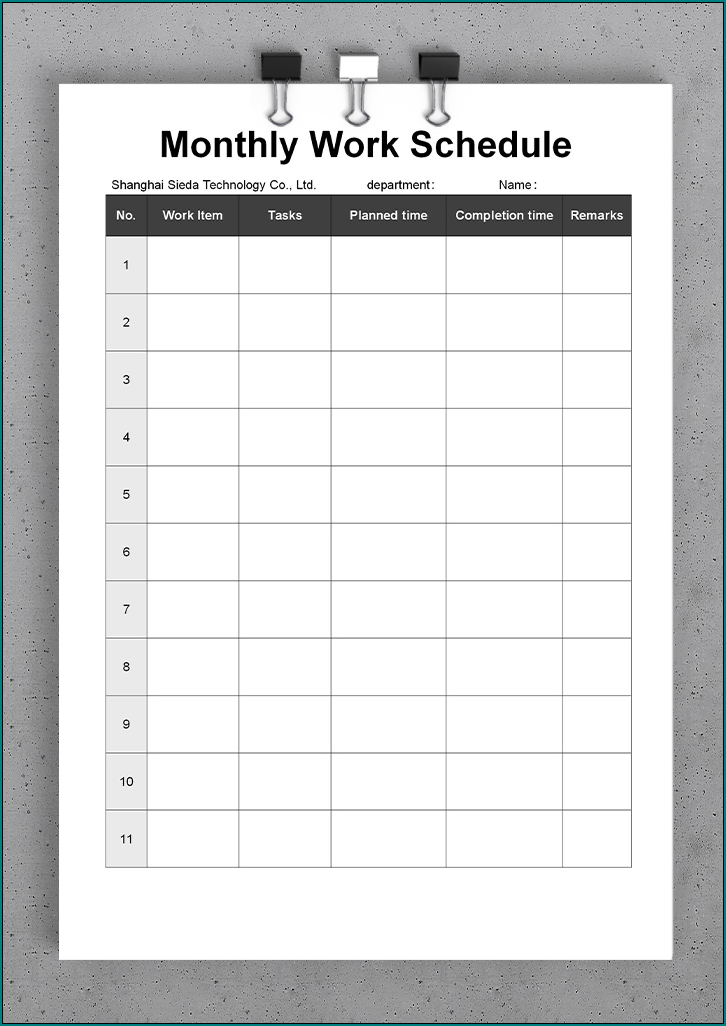 Free Printable Monthly Work Schedule Template Bogiolo