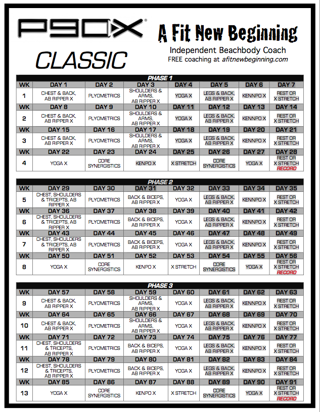 Free Printable P90X Workout Schedule P90X Classic