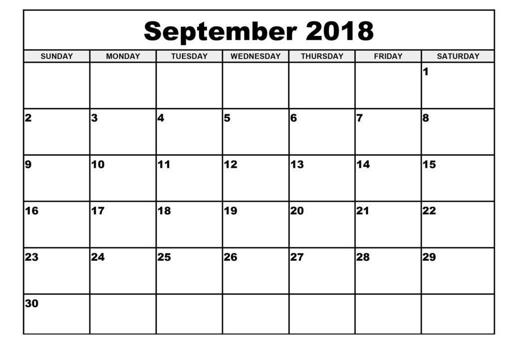 Free Printable September 2018 Blank Calendar Free
