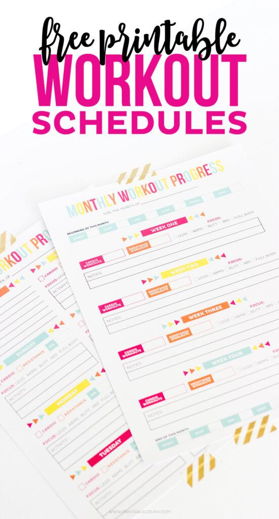 FREE Printable Workout Schedule Printable Crush