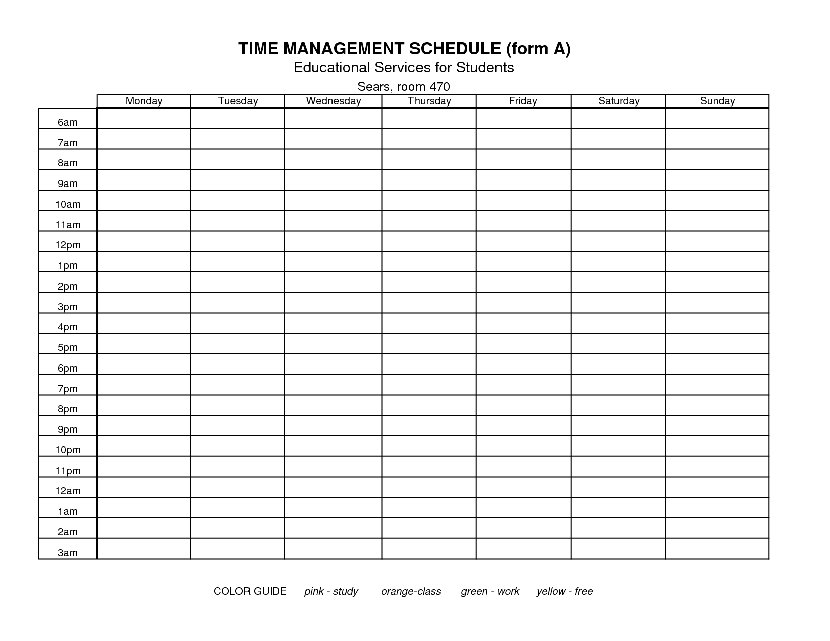 FTU Schedule Template Found Free On The WWW I Do Not