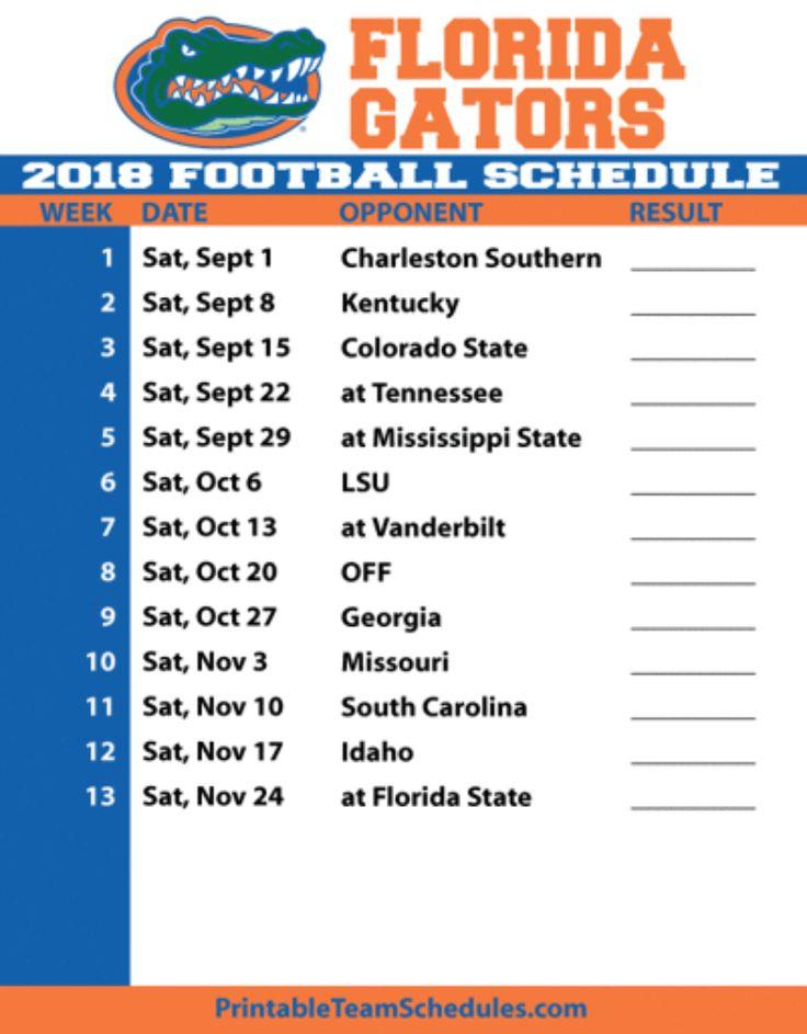 Gator Football Schedule 2018 Florida Gators Football
