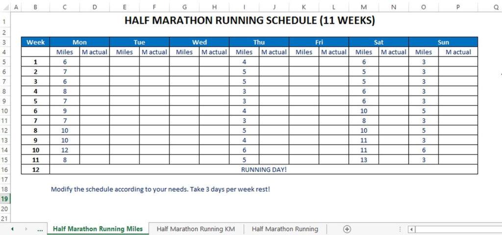 Half Marathon Training Plan Miles Templates At