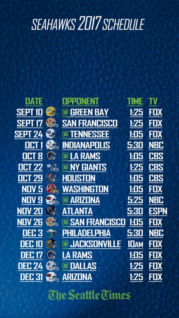 Influential Printable Seahawks Schedule Ruby Website