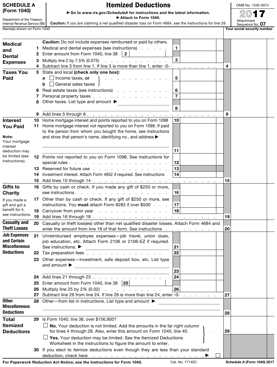 IRS Form 1040 Schedule A Download Fillable PDF Or Fill
