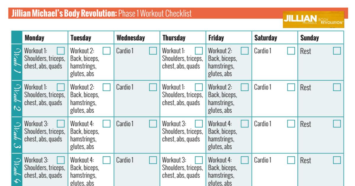 Jillian Michaels Body Revolution Phase 1 Workout Checklist