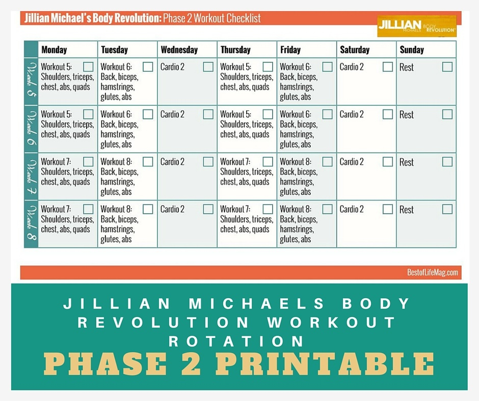 Jillian Michaels Workout Rotation Printable Checklist