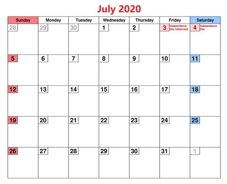 July 2020 Calendar Download Monthly Template Printable