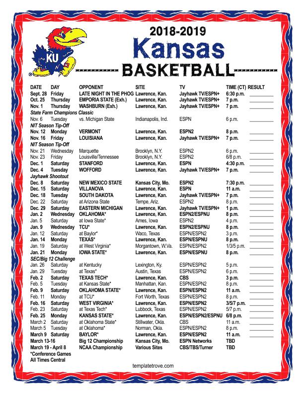 Ku Basketball Schedule Printable That Are Handy Hudson