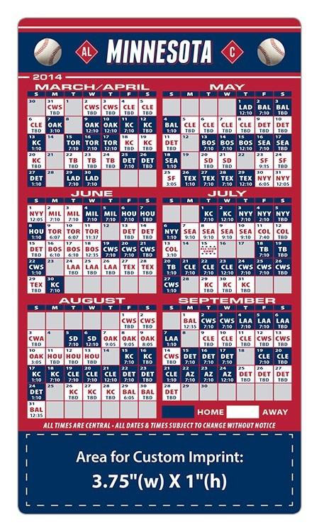 Minnesota Twins Baseball Team Schedule Magnets 4 X 7