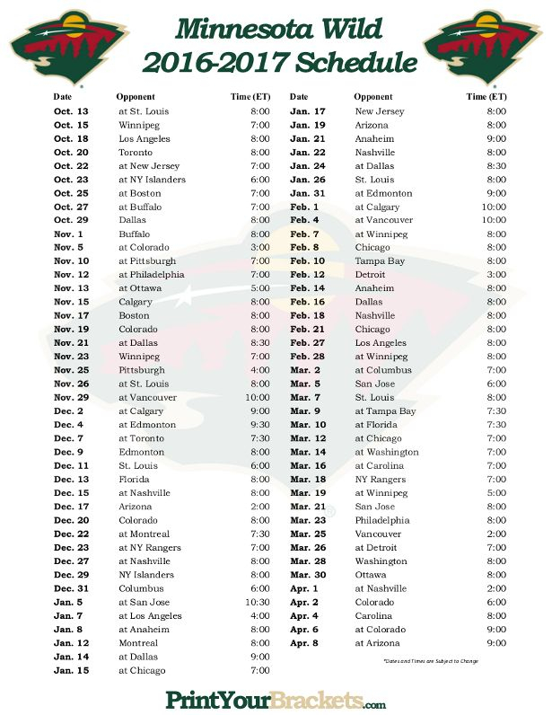 Mn Wild Printable Schedule That Are Tactueux Hunter Blog