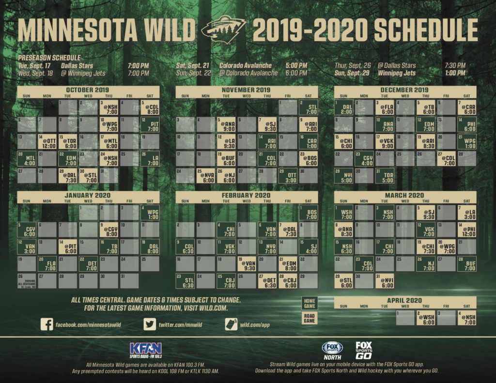 Mn Wild Schedule Printable That Are Bewitching Ruby Website