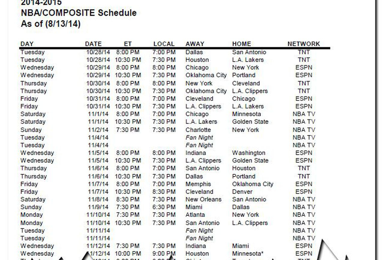 Nba Tnt Schedule Examples And Forms